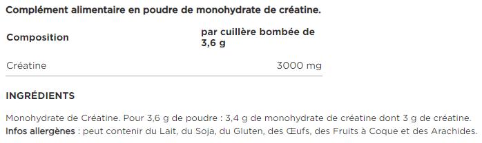 Optimum Nutrition Creatine Monohydrate composition