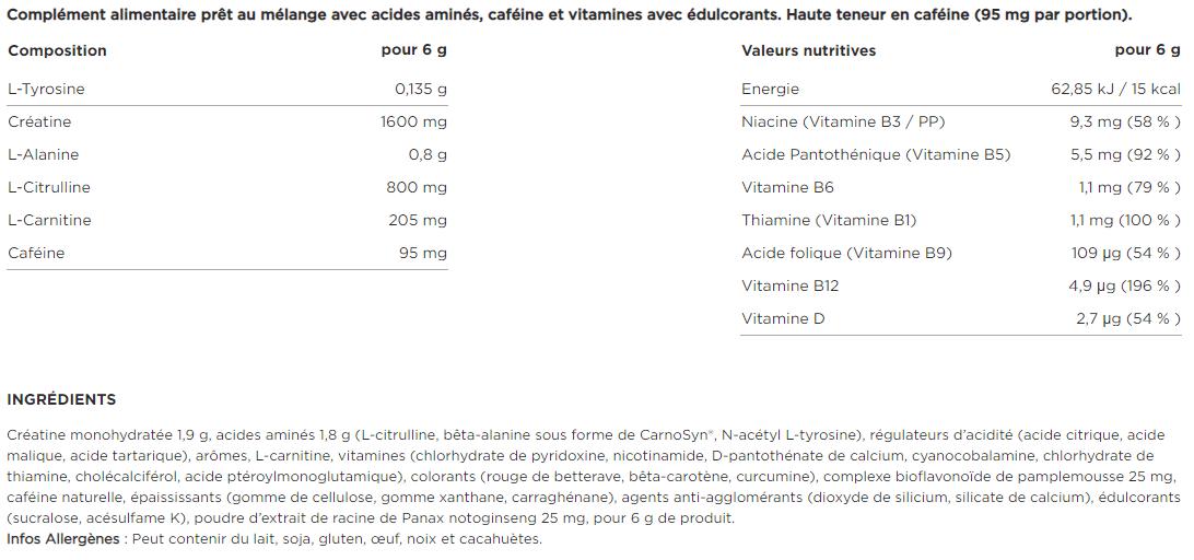 Optimum Nutrition Gold Standard Pre Workout composition