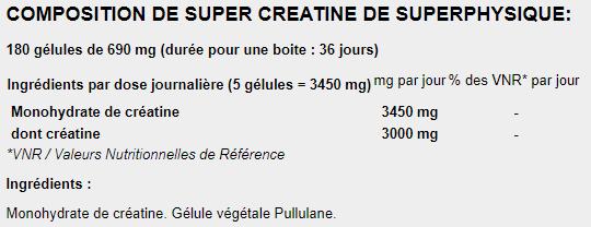 SuperPhysique Nutrition Super Créatine composition