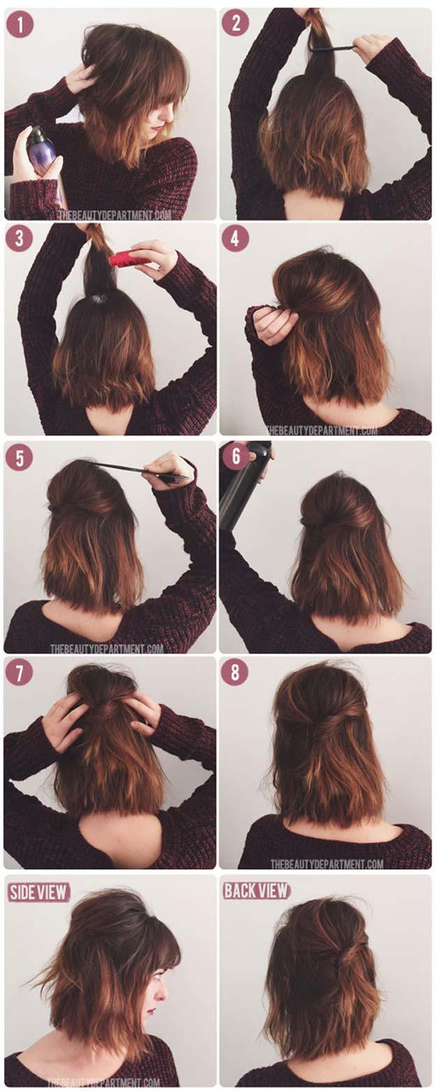 Coiffure cheveux courts carré volumineux