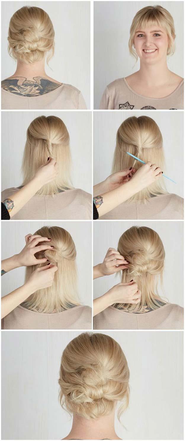 Coiffure cheveux courts triple bun