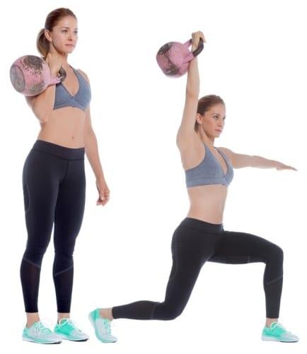Exercice kettlebell fente élévation