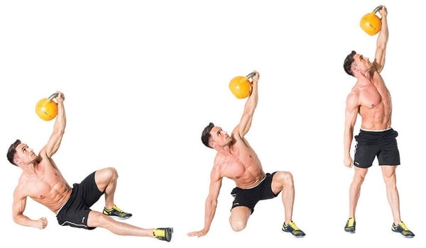 Exercice kettlebell turkish get up