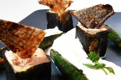 Recette plancha plat maki de saumon et courgette