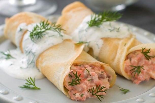 Recette crêpe salée saumon