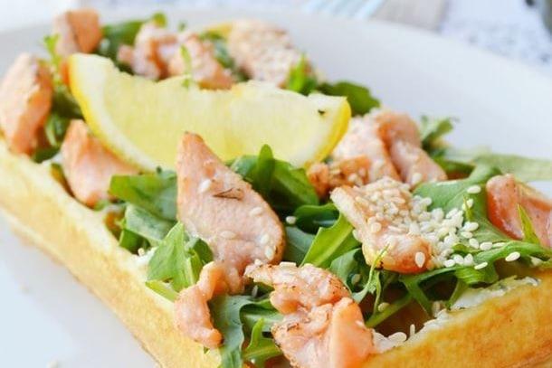 Recette gaufre salée saumon