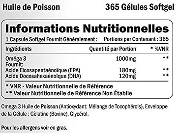 Xellerate Nutrition omega3 composition