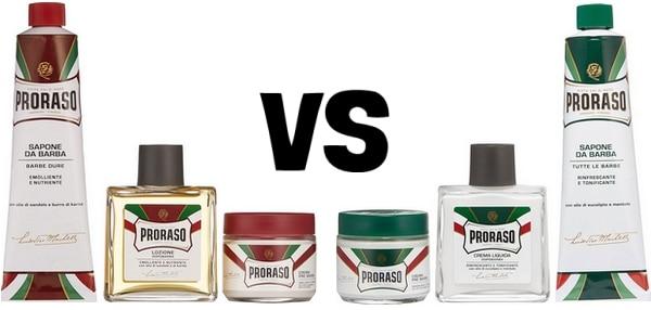 Proraso Red vs Green différences