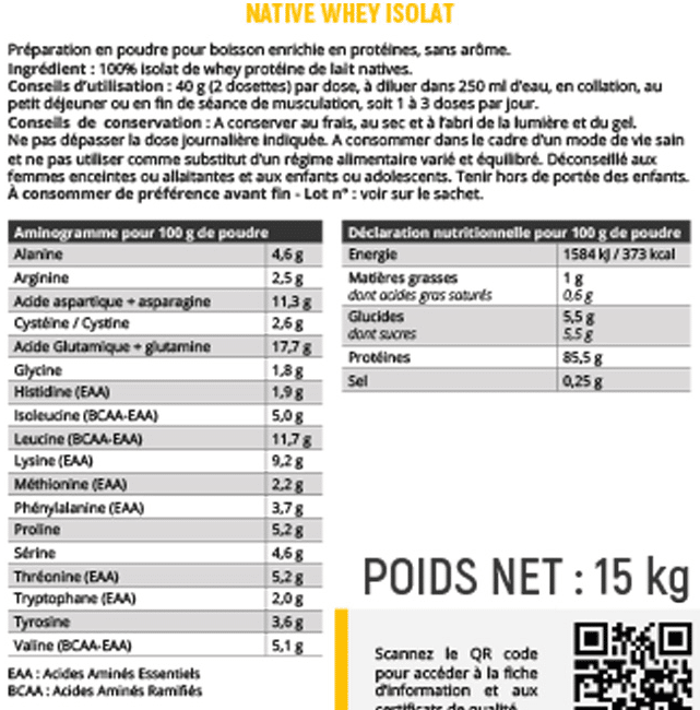 All Musculation Native Whey Isolat composition