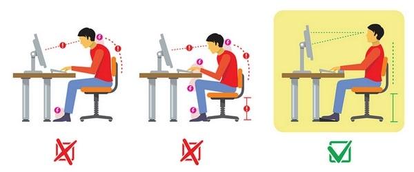 Bonne position assise bureau posture