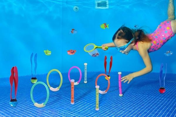 jeux piscine chasse tresor